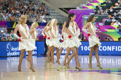 Cheerleaders. Khimki Dancers cheerleaders perform at FIBA World Cup basketball match between Slovenia and Dominican Republic, final score 71-61, on September 6 Royalty Free Stock Image