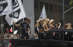 Cheerleaders at LA Kings 2014 Stanley Cup Victory Parade, Los Angeles, California, USA Stock Image
