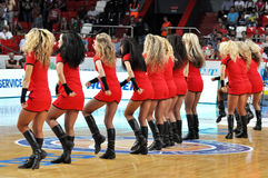 Cheerleaders lined up in a row Royalty Free Stock Photo
