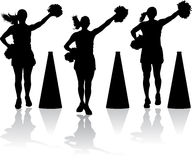 Cheerleaders with megaphones Stock Photos