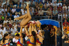 Cheerleaders at Palau Blaugrana Royalty Free Stock Images