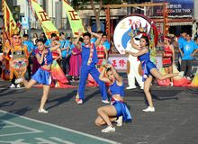 Cheerleaders Perform During The Lantern Festival Royalty Free Stock Images