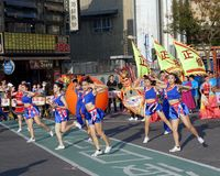 Cheerleaders Perform During The Lantern Festival Stock Photo