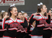 The Cheerleaders. Cheerleaders performing at a basketball game in Redding, California Stock Photography