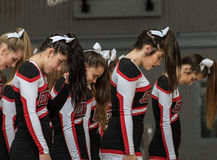The Cheerleaders. Cheerleaders performing at a basketball game in Redding, California Stock Images