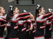 The Cheerleaders. Cheerleaders performing at a basketball game in Redding, California Stock Image