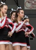 The Cheerleaders. Cheerleaders performing at a basketball game in Redding, California Stock Photos