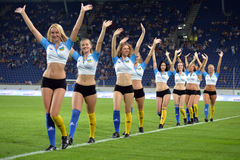 Cheerleaders Photo Was Taken During The Match Between Fc Dnipro Dnipropetrovsk City And Fc Vorskla Poltava City At Stadium Dnipro Stock Photography