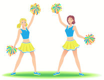 Cheerleaders with pom-poms. Girls support group dancing. Cheerleaders with pom-poms. Girls support team dancing Royalty Free Stock Image
