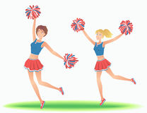 Cheerleaders with pom-poms. Girls support team dancing. Vector illustration Stock Image