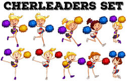 Cheerleaders with pompom jumping up and down Royalty Free Stock Photography