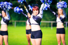 Cheerleaders Practicing Outdoors Royalty Free Stock Photos
