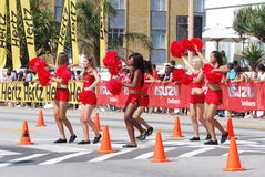 Cheerleaders in red Stock Images
