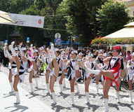 Cheerleaders show on pedestrian street Royalty Free Stock Photo