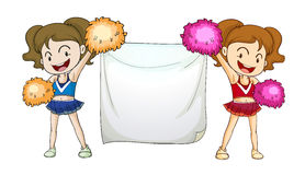Cheerleaders with a sign. Illustration of cheerleaders with a sign Royalty Free Stock Photos