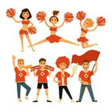 Cheerleaders and sport club cheerleading fans vector flat icons Royalty Free Stock Photo