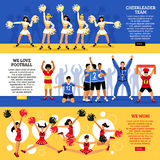 Cheerleaders Team 3 Flat Banners Royalty Free Stock Photo