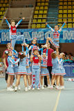 Cheerleaders team Sharks performs at Championship royalty free stock photos