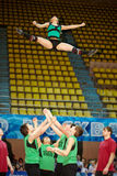 Cheerleaders team Zador performs acrobatics Royalty Free Stock Photos