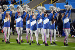 Cheerleaders welcome viewers photo was taken during the match between fc dnipro dnipropetrovsk city and fc olimpik donetsk city at Stock Photography