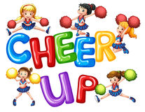 Cheerleaders and word cheer up Royalty Free Stock Photography