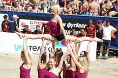 cheerleaders wykonują Zdjęcia Royalty Free