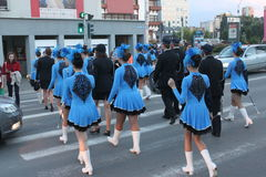 Cheerleaders in blue dress Stock Images