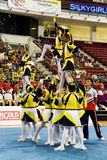 Cheerleading Championship Action. Image of a cheerleading team in action at Cheers 2009, which is the Malaysian national cheerleading championship, held at Juara royalty free stock photos