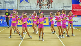 Cheerleading Championship Action Stock Images