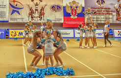 Cheerleading Championship Action Royalty Free Stock Photography