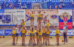 Cheerleading Championship Action. Open Championship Cup St. Petersburg Cheerleading Royalty Free Stock Photo
