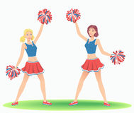 Cheerleading Dance. Girls cheers with pom-poms. Support team dancing Royalty Free Stock Photography