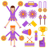 Cheerleading elements and cheerleader girls accessories vector flat icons Stock Image