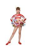 Cheerleading flicka med pom royaltyfri fotografi
