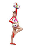 Cheerleading flicka med pompoms Arkivbild
