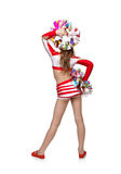 Cheerleading girl with pompoms Stock Photography
