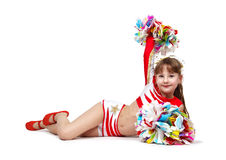 Cheerleading girl with pompoms Stock Photos