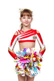 Cheerleading girl standing with pom Stock Photos