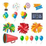 Cheerleading Ikonen eingestellter Vektor Cheerleader-Zubehör Pompoms, Ballone, Konfettis, Megaphon Lokalisierte flache Karikatur lizenzfreie abbildung