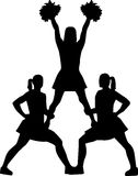 Cheerleading pyramid silhouette Royalty Free Stock Image