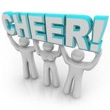 cheerleading samlar lyfta för jubel squadord Royaltyfri Bild
