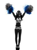 Cheerleading Schattenbild der Cheerleader der jungen Frau Lizenzfreie Stockfotos