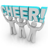 Cheerleading Squad in Rally - Lifting Word Cheer Royalty Free Stock Image