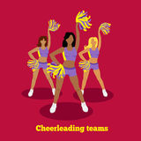 Cheerleading Team Concept Flat Design Royalty Free Stock Images
