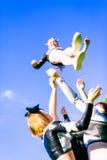 Cheerleading Team. A team of pretty, female cheerleaders having fun outdoors Stock Image