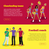 Cheerleading Teams and Football Coach Web Banners stock illustration