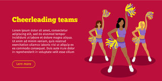 Cheerleading Teams Web Banner. Girls with Pompoms. Cheerleading teams web banner. Cheerleader girls with pompoms. Dancing to support football team during Stock Photos