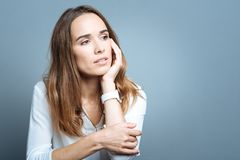 Free Cheerless Thoughtful Woman Holding Her Cheek Royalty Free Stock Photos - 99563958