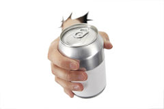 Cheers. Hand is bracking paper with a can Royalty Free Stock Photography