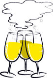 Cheers. Three glasses of champagne on white background Royalty Free Stock Images